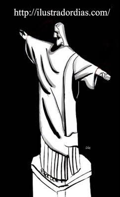Cristo redentor preto e branco  no estilo cartoon