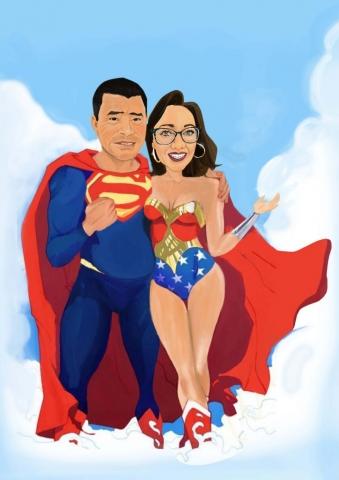 Caricatura no tema  de super herois