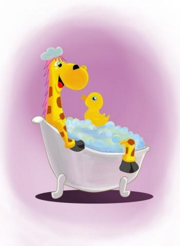 A girafa tomando banho