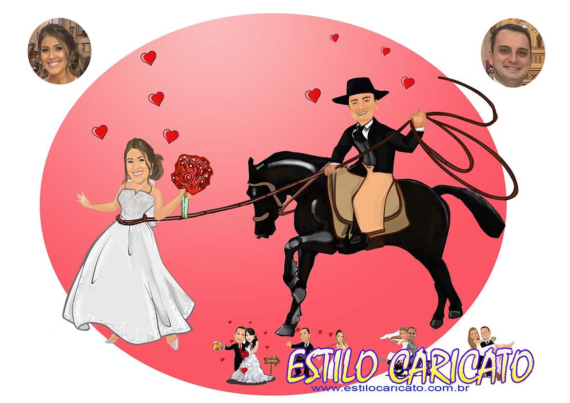 Caricatura criada para convite de casamento