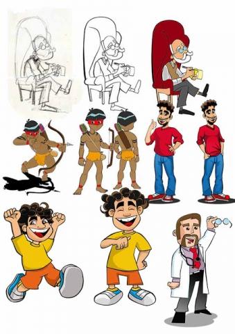 Personagens criados no estilo cartoon