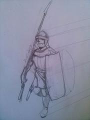 Estudo de ilustração no lápis de soldado medieval