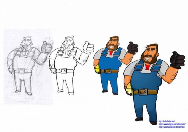 Criação de personagem para logo.