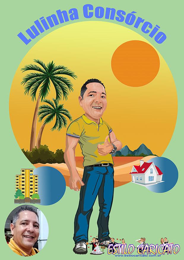 Caricatura de promotor de venda