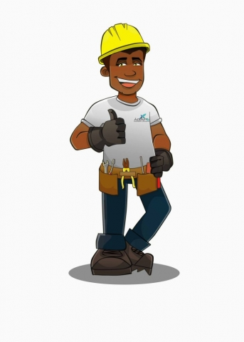 Ilustração no estilo cartoon criada para empresa de serviços de manutenção.