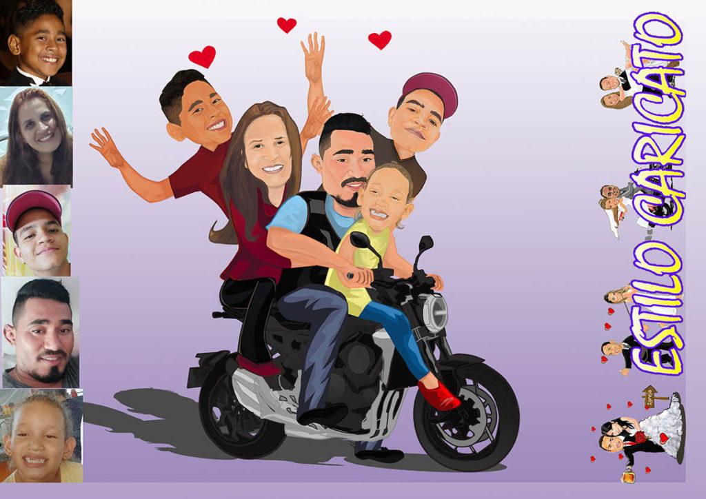 Caricatura digital- Família na moto