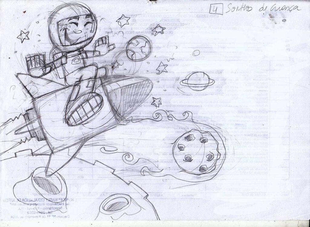O Astronauta- Ilustração infantil para livro
