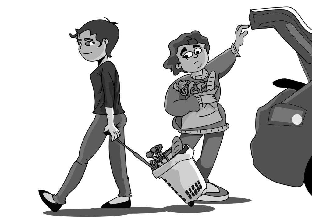 Desenho de Cesto com Rodas no estilo cartoon no estacionamento