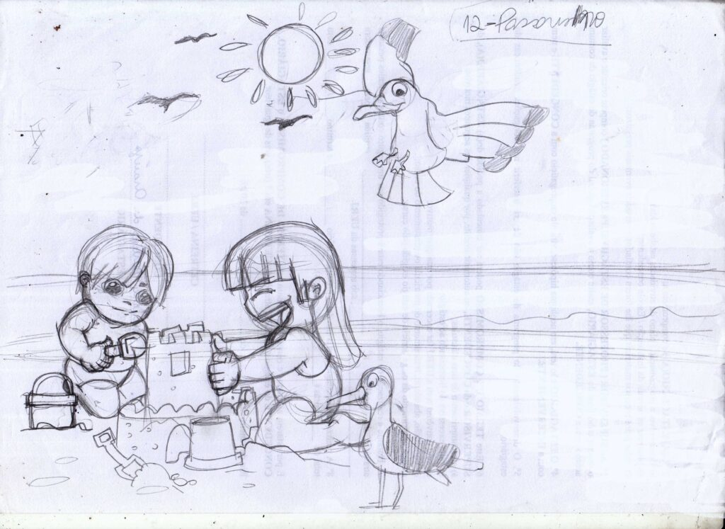 Ilustração infantil para livro- Crianças na Praia.
